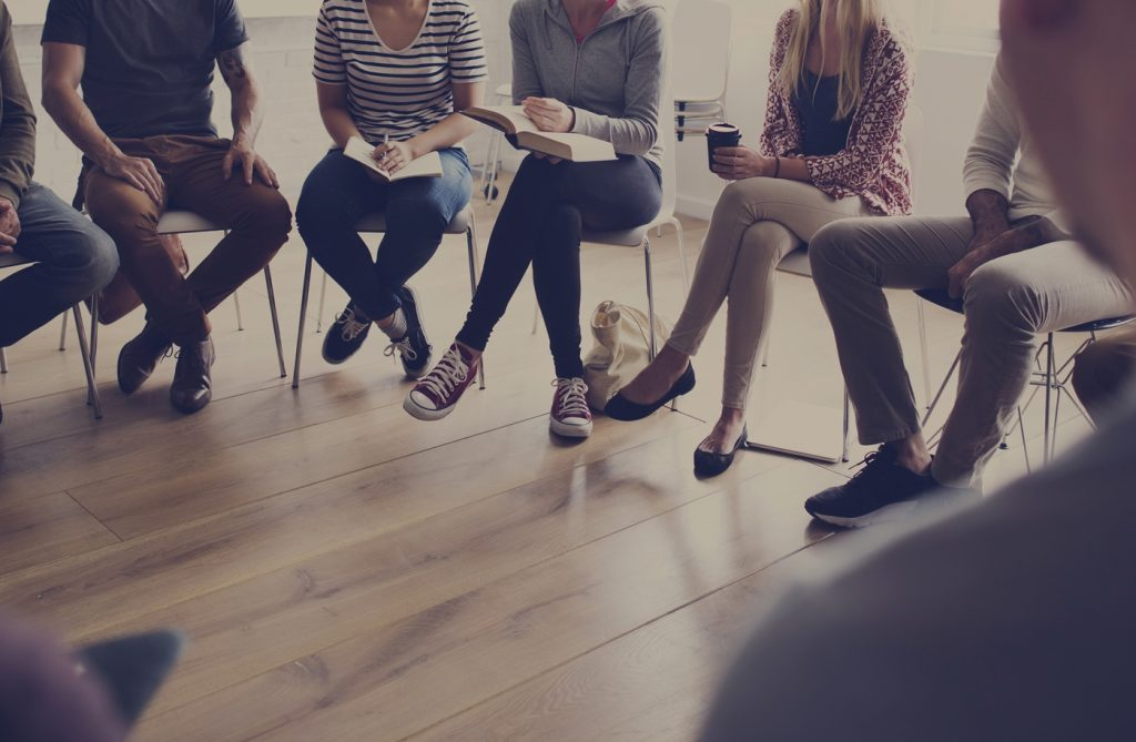 Discussion group sitting in circle